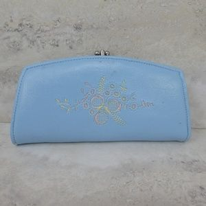 3 for $20- Vintage Blue Embroidered Clasp Wallet